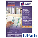 Avery Indexmaker Dividers L7455-10 A4 Plus 10 Part Extra Wide White Ref 01999001