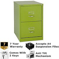 Bisley GLO Filing Cabinet 2-Drawer Green Lime Ref BS2C