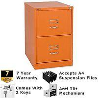 Bisley GLO Filing Cabinet 2-Drawer Orange Ref BS2C