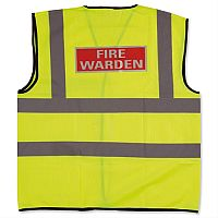 IVG Fire Warden Vest  High Visibility M Yellow with Fire Warden Reflective Logo Medium Ref IVGSFWVM