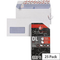 Plus Fabric DL Window Envelopes White Wallet Peal & Seal 110gsm Pack of 25 Ref R10030