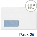 DL Window Envelopes White Wallet Peal & Seal Pack 25 Ref R10030 Plus Fabric