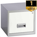 Pierre Henry A4 1 Drawer Steel Filing Cabinet Lockable Silver/White