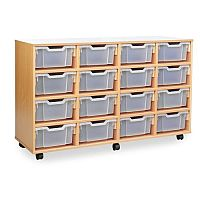 Trexus by Monarch Mobile Unit With 16 Clear Deep Trays Beech Ref MEQ4016-32 Clear