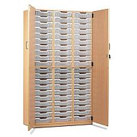Trexus by Monarch Tray Cupboard With Doors With 48 Clear Shallow Trays Beech Ref MEQ48C-48 Clear