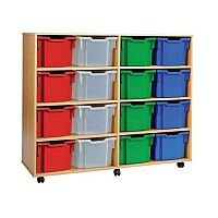Trexus by Monarch Mobile Unit Complete with 16 Coloured Extra Deep Trays Beech Ref MEQ3116-16 Coloured