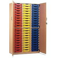 Trexus by Monarch Tray Cupboard With Doors With 60 Coloured Shallow Trays Beech Ref MEQ60C-60 Coloured