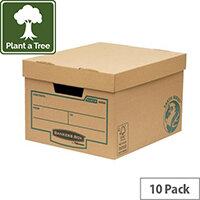 10 BROWN STORAGE BOXES FOR 5 LEVER ARCH FILES 924820