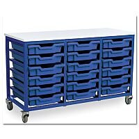 Trexus by Monarch Mobile Unit With 18 Coloured Shallow Trays Metal Frame Blue Coloured
