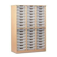 Trexus by Monarch Tray Cupboard Without Doors With 48 Clear Shallow Trays Beech Ref MEQ48ND-48 Clear