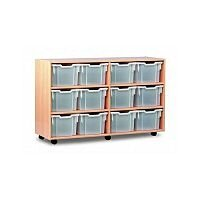 Trexus by Monarch Mobile Unit Complete with 12 Clear Extra Deep Trays Beech Ref MEQ3112-12 Clear