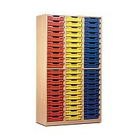 Trexus by Monarch Tray Cupboard Without Doors 60 Coloured Shallow Trays Beech Ref MEQ60ND-60 Coloured