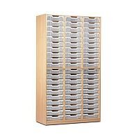 Trexus by Monarch Tray Cupboard Without Doors With 60 Clear Shallow Trays Beech Ref MEQ60ND-60 Clear