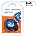 Dymo LetraTag Tape Plastic 12mmx4m Black on Clear Ref S0721530