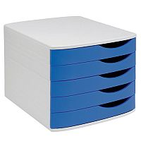 5 Star Elite Desktop Drawer Set 5 Drawers A4 and Foolscap Grey/ Blue Ref 8344100-11442