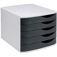 5 Star Elite  A4/Foolscap  Desktop Drawer Set 5 Drawers  Grey/Black