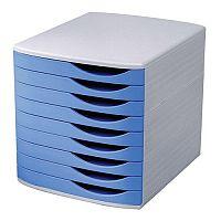 5 Star Elite Desktop Drawer Set 9 Drawers A4 and Foolscap Grey/ Blue Ref 8344100-11443