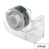 Sellotape Super Clear Parcel Packing Tape 48mmx20m and Dispenser (6 Rolls)