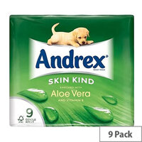 Andrex Toilet Paper Rolls Aloe Vera Rippled White Ref M01388 [Pack 9]