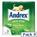 Andrex Toilet Paper Rolls Aloe Vera Rippled White Ref M01388 [Pack 9]