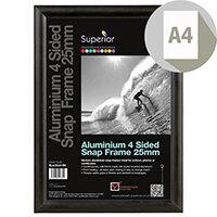 A4 Black Aluminium Snap Frame
