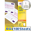 Avery Integrated Single Label Sheet 85x54mm White (100 Sheets)