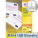 Avery Integrated Double Label Sheet 85x54mm White (100 Sheets)