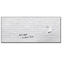 Sigel Artverum Tempered Glass Magnetic Board with Fixings 1300x550mm White Brick Ref GL244