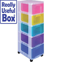 Really Useful Mobile Storage Tower With 5x12L Drawers Clear Assorted Colours