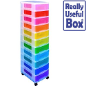 Really Useful Mobile Storage Tower 11x7L Drawers Clear Assorted Colours