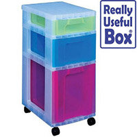 Really Useful Storage Tower Polypropylene 3 Drawers 7L 12L 25L Clear & Assorted Ref DT5667