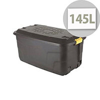 Strata Storage Trunk With Lid & 4 Wheels For Moving Heavy Contents 145L Capacity Black. Made From Recycled Material & Is Also Water Resistant.