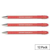 Paper Mate Flexgrip Ultra Medium Red Ballpoint Pen Pack 12