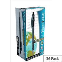Paper Mate Flexgrip Retractable Ball Pen Medium 1.0mm Tip 0.4mm Line Black Ref 1910073 [Pack 36]