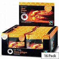 Traidcraft Cookies Stem Ginger Fairtrade Individually Wrapped Twin Biscuit per Minipack (Pack 16)
