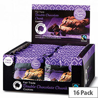 Traidcraft Cookies Double Choc Fairtrade Individually Wrapped Twin Biscuits per Minipack (Pack 16)
