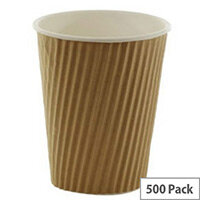 Kraft Ripple Disposable Paper Cups 12oz/35ml Brown for Hot/Cold Drinks (Pack 500)