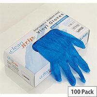 Disposable Gloves Vinyl Powder Free Large Blue [Pack 100]