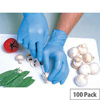 Shield Nitrile Powdered Gloves Medium Blue Pack of 100