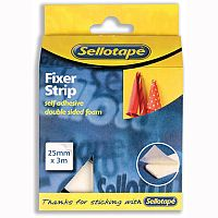 Sellotape Sticky Fixer Foam Strip Double Sided 25mm x 3m Roll