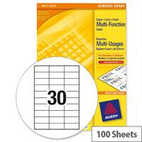 Avery White Copier Labels 30 per Sheet 70x30mm White Ref 3489 [3000 Labels]