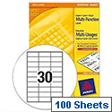 Avery White Copier Labels 30 per Sheet 70x30mm White Ref 3489 [3000 Labels]