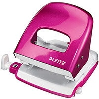 Leitz NeXXt WOW Metal Office Hole Punch 3m 30 Sheet  Metallic Pink