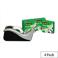 Scotch Magic Tapes 19mmx33mm (Pack of 4) with C60 Scotch Silver Dispenser Ref C60ST4