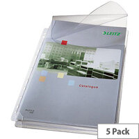 Leitz A4 Heavy-duty Gusseted Expanding Pocket Multipunched Clear 170 Micron Pack of 5