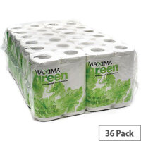 Maxima Green Recycled Toilet Paper Roll White 2 Ply Pack 36 Toilet Paper Rolls