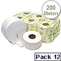 Maxima Mini Jumbo Dispenser Toilet Roll 200 Metre Pack 12 KMAX2500