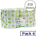 Maxima Jumbo Dispenser Toilet Roll 76mm Core 2 Ply Length 410m White Pack 6