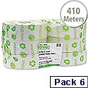 Maxima Jumbo Dispenser Toilet Roll 76mm Core 2 Ply Length 410m White Pack 6