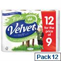 Velvet Triple Toilet Rolls White Pack 12 Toilet Paper Rolls